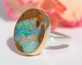 Opal Ring - Sterling Silver 22K Gold Australian Koroit Boulder Opal ring - US size 7 - Opal promise ring - silver gold opal ring