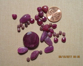 36 Genuine Ruby Beads in Various Sizes Some Faceted   free shipping