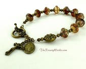 Miraculous Medal Rosary Bracelet Chaplet Holy Spirit St Benedict Bronze Bali Style Bead Sangria Bohemian Glass Vintage Style Prayer Beads