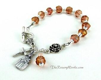 St Therese Rosary Bracelet Chaplet Pink The Little Flower Miraculous Medal Single Decade Sacred Heart Good Shepherd Holy Family Spirit