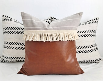 "18""x18"" ""Indie"" vegan leather, linen & fringe pillow cover / modern / boho"