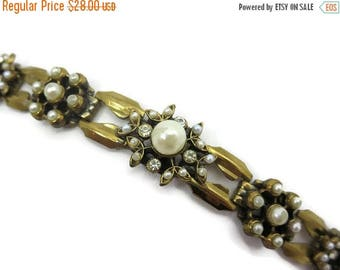 OnSale Pearl and Rhinestone Bracelet - Brass, Faux Pearls, Mid Century, Costume Jewelry