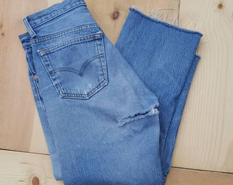 """Vintage Levi's 501 Jeans  //  Vtg 90s Made in the USA Trashed Distressed Faded Button Fly Jeans w/ Holes + Cropped Raw Hems //  29.5"""" waist"""