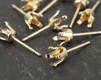 Gold Filled 5mm Snap Setting Ear Post PAIR (CG9271)