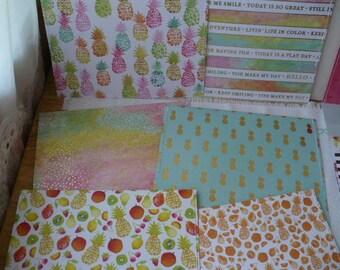 Pineapple Envelopes,  Square Envelopes, Tropical Envelopes, Plastic Pineapple Envelope, Plastic Envelopes