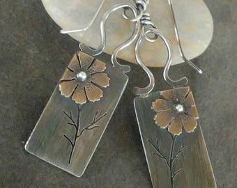 Rustic- Handmade- Artisan- Cosmos-Flower-Sterling Silver- OOAK-Mixed Metal-Earrings.