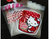 Self Adhesive Gift Bags. Cellophane. Plastic. Hello Kitty. Candy. Cookie. Snack.