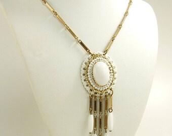 Victorian Revival Pendant Necklace White Enamel & Gold Tone