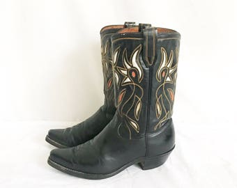 Vintage 70's Acme Inlay Cowboy Boots. Size 9 1/2 Women's