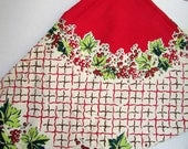 Fifties Tablecloth, Vintage 1950's Cotton Tablecloth, Holly Leaves and Berries, Simtex Style 50 In. Tablecloth, Holiday Tablecloth