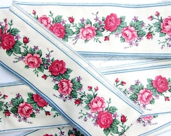 Vintage 1960's Cotton Roses Floral Border Fabric Trim, Edging, 3 Inch Wide, Old Mill Trim for Decor Projects, Crafting, Pink Roses,