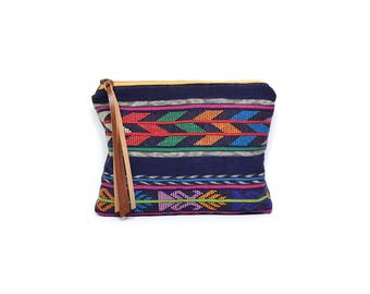 cosmetic pouch • make up bag - guatemalan textile • colorful global textile - waxed canvas - large clutch - make up bag - gifts under 50