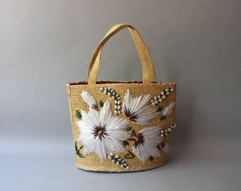 1950s Beach Bag / Vintage 50s 60s Large Straw Tote Bag / 1960s Floral Raffia Straw Purse
