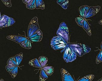 Butterflies Black Enchanted Chong-A Hwang Timeless Treasures Fabric