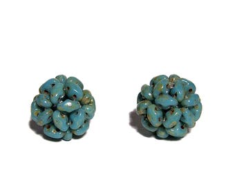 MiniDuo Beads Beaded Bead Blue Turquoise Picasso 12mm 2pcs
