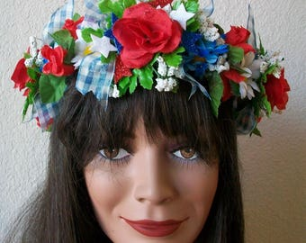Patriotic 4th of July Red White and Blue head wreath crown, Red, blue and white flowers, blue check ribbon, glitter