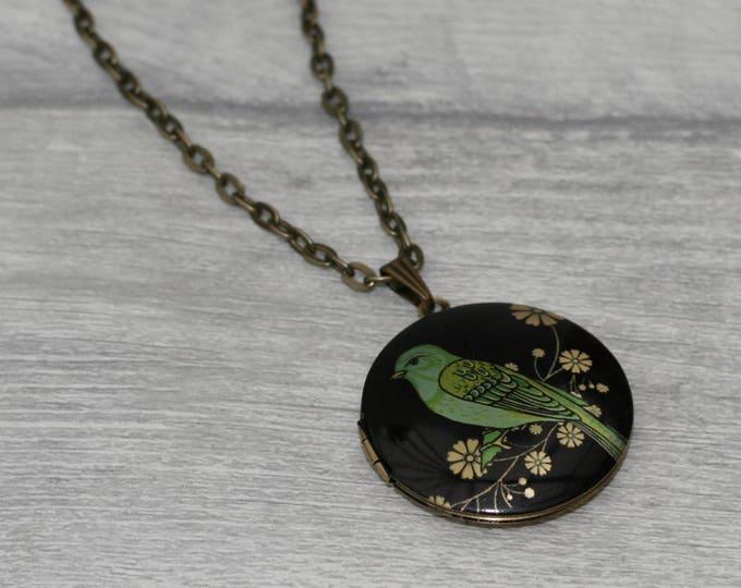 Bird Locket Necklace, Floral Bird Necklace, Woodland