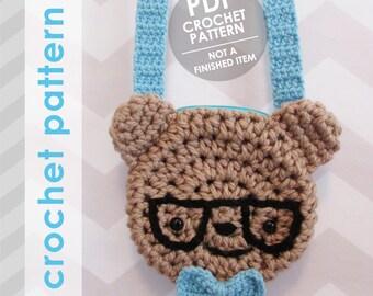 crochet bag pattern, nerdy bear with glasses crossbody bag purse, crochet bag pattern, crochet purse pattern, amigurumi bear, bear bag