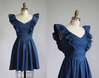 vintage GUNNE SAX blue denim ruffle short dress / xs - s