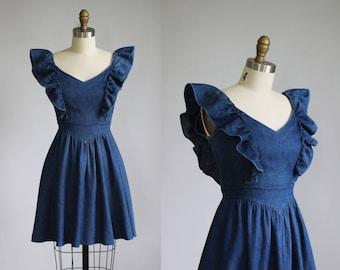 vintage GUNNE SAX blue denim ruffle short dress / xs - s