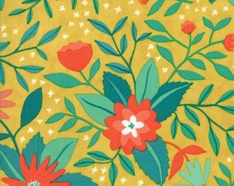 Midnight Garden Fabric // Gold Floral Quilting Fabric  // 1canoe2 // cotton quilting