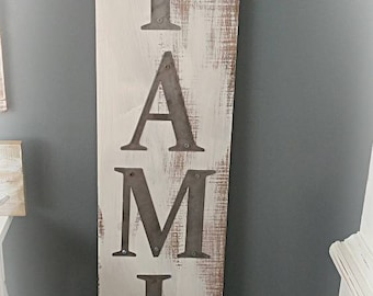 FAMILY Metal on Plank Wood Sign Large
