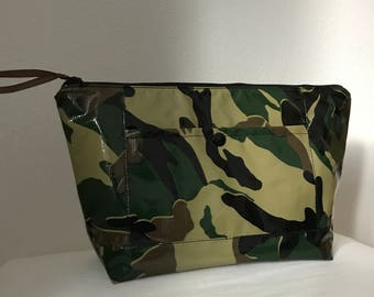 Beth's Large Camo Camoflauge Oilcloth Cosmetic bag with exterior pocket