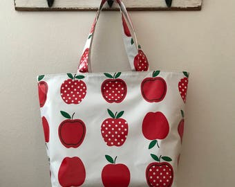 Beth's Big Apples and Dots Oilcloth Market Tote Bag