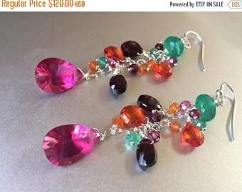 QUICKIE SALE 15% OFF, Bright Gemstone Dangle Earrings, Garnet, Quartz, Onyx, Zirconia, Rainbow Earrings, Scheherazade Dangle Earrings