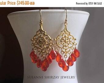 XMAS IN JULY 20% off, Padparadscha Paradise Chandelier Earrings, cubic zirconia orange earrings. 18k gold vermeil