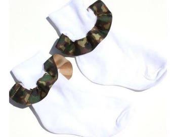 Camouflage Baby Socks,Ribbon Ruffle Socks,Camo Baby Socks,Frilly Socks,Baby Ruffle Socks,Ribbon Socks,Frilly Baby Socks,Camouflage Girl Sock