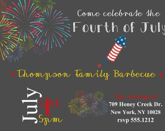 BBQ Invitation - 4th of July Invitation - Fourth of July Invitation - Vintage Independence Day Invitation - Birthday Invitation