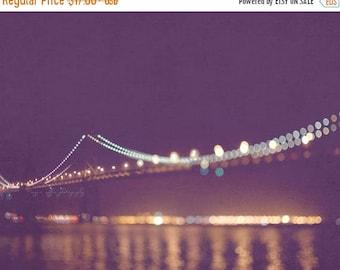 SALE San Francisco night photography, Bay Bridge photo, rich purple plum, gold lights, dreamy bokeh, sparkle twinkle, California architectur