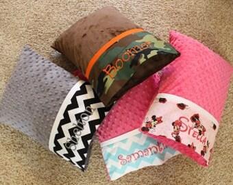 Personalized Minky Travel Pillows - Minky Pillowcase - Nursery Pillow - Toddler Pillow - Adult Travel Pillow - Minky Pillow - Adult Pillow