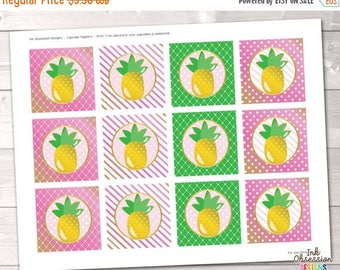 """35% OFF SALE Pineapple Printable Cupcake Toppers - 2"""" Party Circles in Pink and Green - Instant Download PDF"""