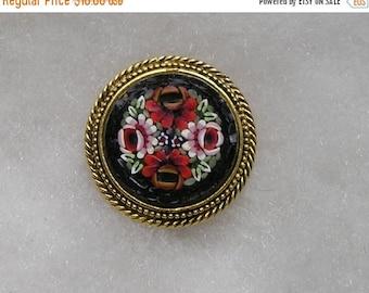 ON SALE Vintage Micro Mosaic Tile Flower Goldtone Pin Brooch