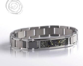 Yellow Gold Stardust Bracelet, Polished Steel Modular Bracelet Set, Interchangeable Jewelry