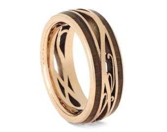 Custom 14k Rose Gold Wedding Band For Men or Women, Cherry Wood Ring With Unique Design, Filigree Ring