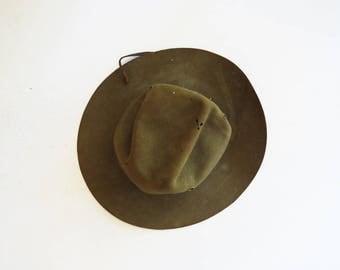 Vintage Boy Scout Hat // Boys Moss Green Wilderness Adventure Hat // Child's Vintage Accessory