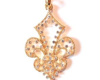 Cut-out Fleur de Lis Pendant with Rhinestone Accents Gold-tone