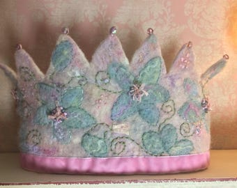 Pastel Shimmer Flower Felted Crown - Felt Crown - Waldorf Crown - Fairy Crown - Woodland Crown - Flower Crown -Princess Crown