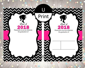 Printable Graduation Girl Invitation Black White Hot Pink 2018 Blank Fill In Template DIY Party Supply Digital Instant Download Set of 2
