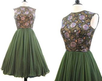 Vintage 50s Dress Pat Sandler Brocade Butterflies Silk Chiffon Full Skirt Dance Cocktail M