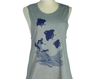 Heather Grey, Japanese, Chidori, Plovers, Birds Screen Printed, Bamboo Muscle Shirt, Organic, Eco-Friendly, Hand Printed, Women
