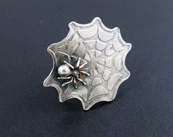 Spiderweb Ring, MADE TO ORDER- size 7.5 and 8.5 ready to ship, spider ring, spider jewelry, michele grady, halloween jewelry, halloween ring