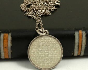 Vintage Lords Prayer Pendant Necklace, Sterling Silver