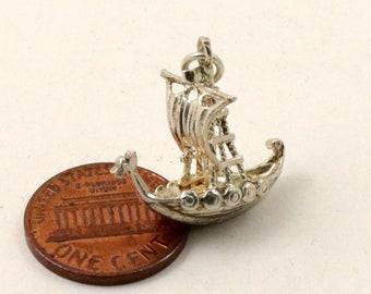 Vintage Sterling Silver Dragon Boat Viking Ship Charm Pendant