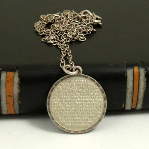 Vintage Sterling Silver Lords Prayer Pendant Necklace
