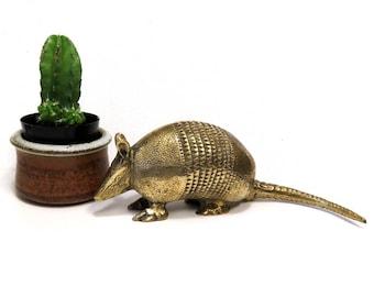 Vintage Brass Armadillo Figurine Sculpture/ Texas State Animal