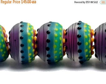 ON SALE 35% OFF New! Handmade Glass Lampwork Bead Set - 11009101 Seven Rio de Janeiro Matte Rondelle Beads